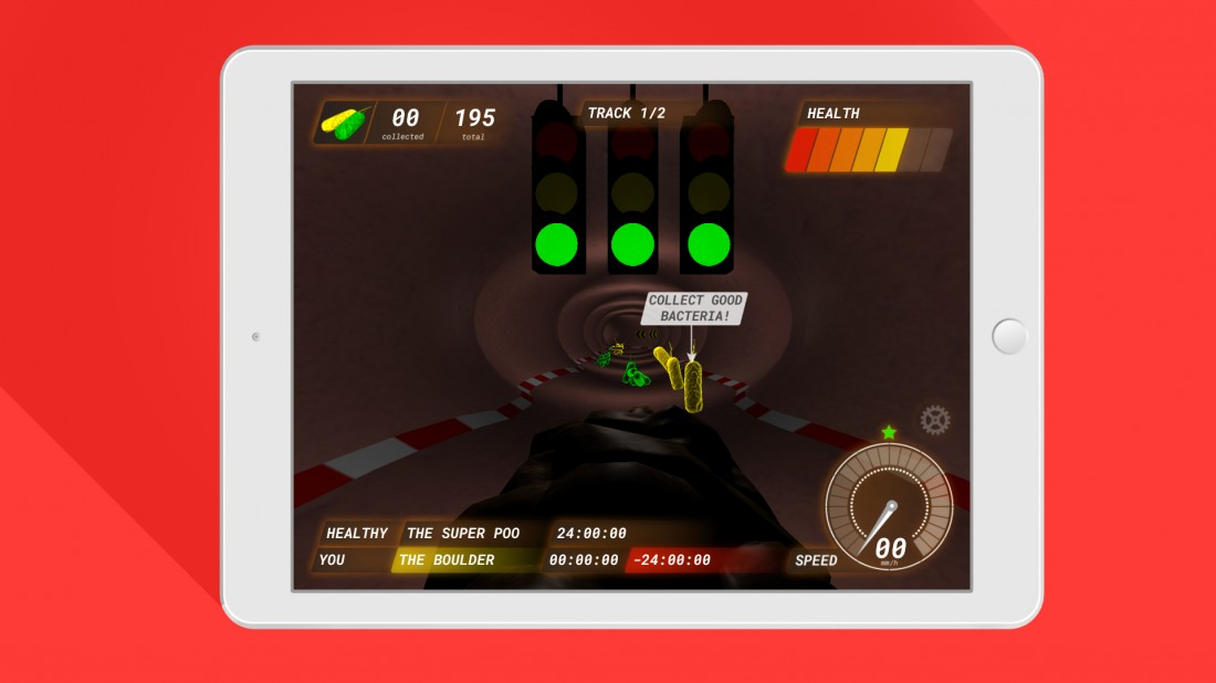 Poo Racer race screen on iPad