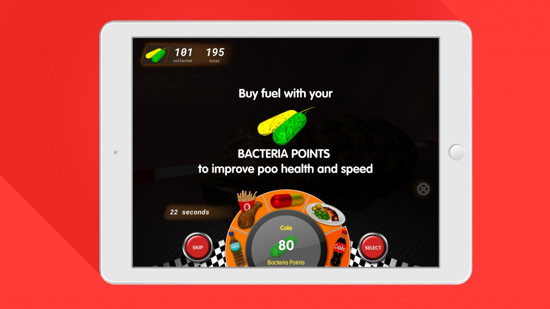 Poo Racer pitstop screen on iPad