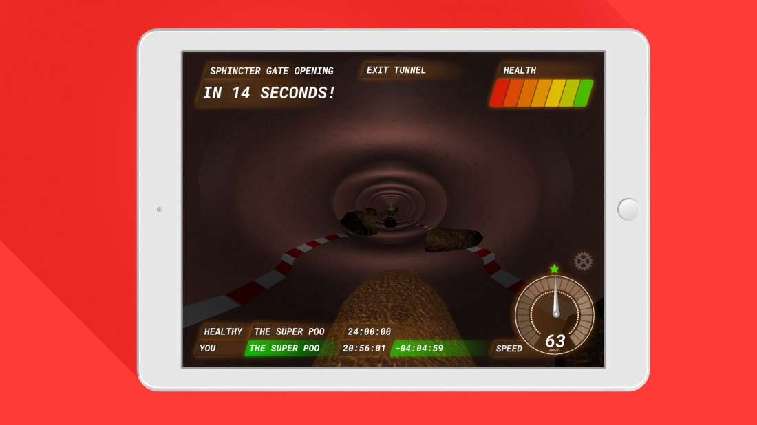Poo Racer exit tunnel on iPad