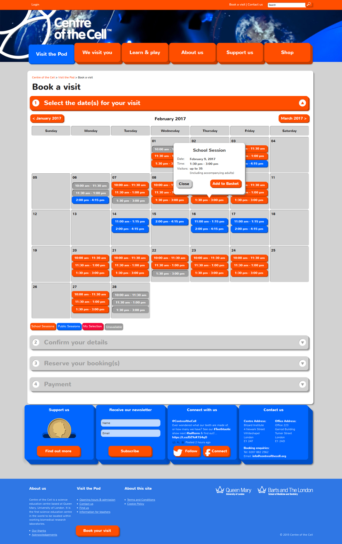 Centre of the Cell website booking page