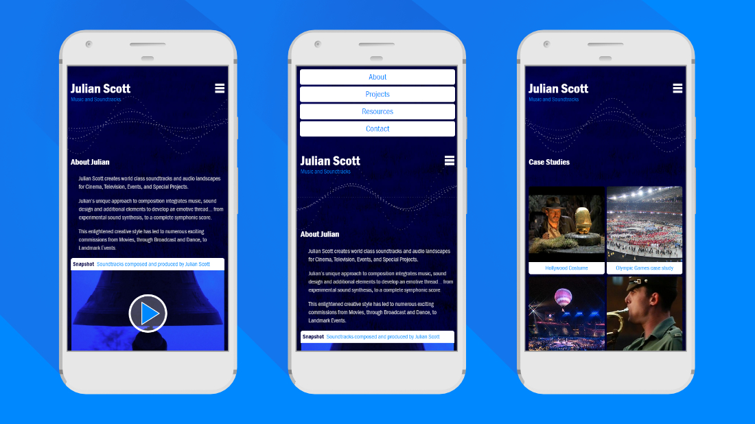 Julian Scott website on mobile